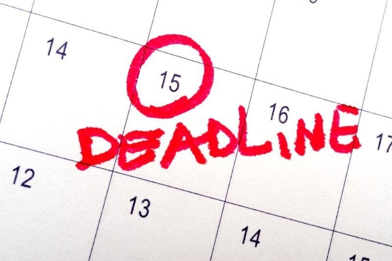 Calendar mark Deadline with red color