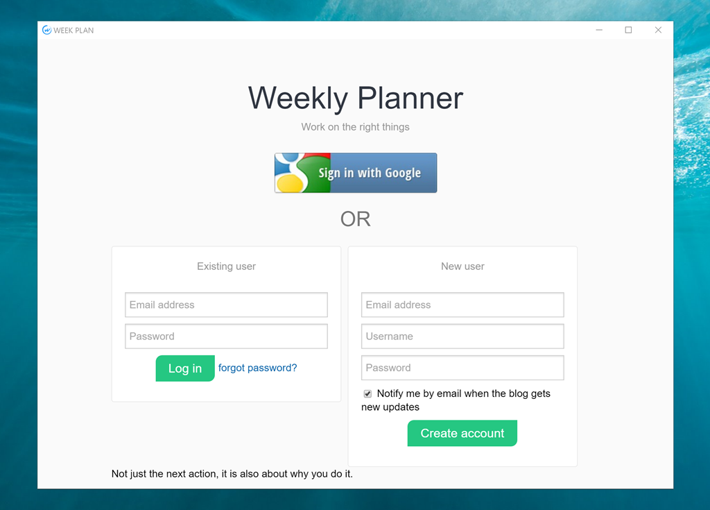 Windows app for WeekPlan