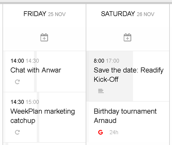 Event visualization in WeekPlan