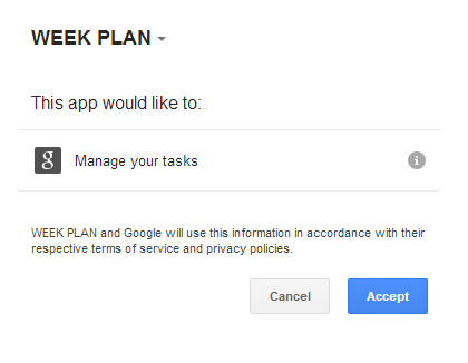 Give permission to WeekPlan app