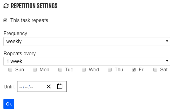 WeekPlan recurring tasks