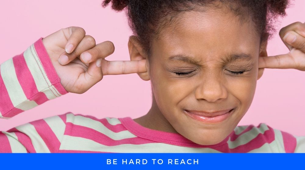 Child prevent her ear to listen